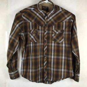 Wrangler Retro Pearly Snap Western Shirt Xl Brown